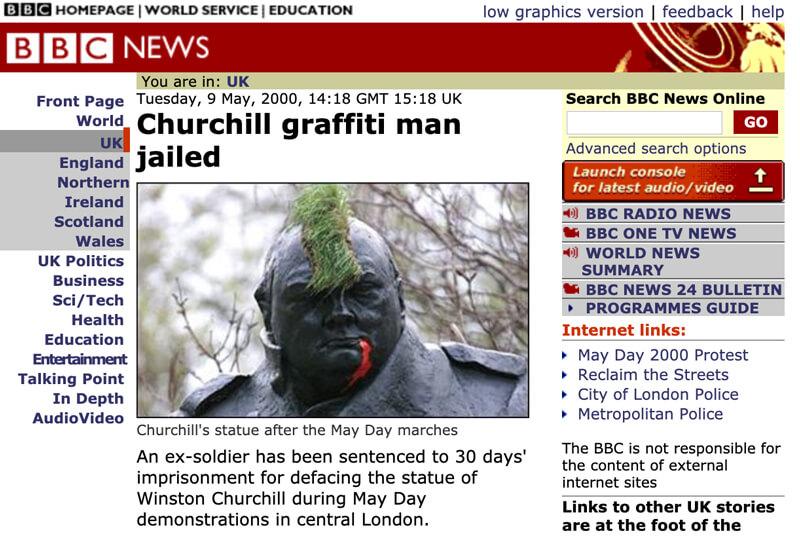チャーチルにイタズラして逮捕